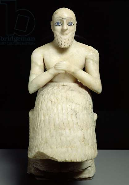 Statue of the official Ebih-Il, from the Temple of Ishtar at Mari, Iraq, Middle Euphrates, Early Dynastic Period, c.2500 BC (gypsum & lapis lazuli) (see also 121796)