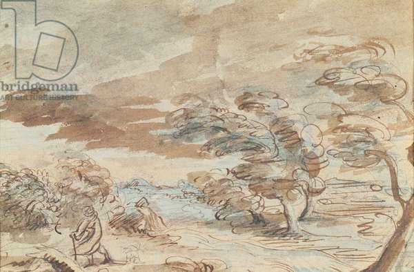 Landscape (pen and ink wash on paper)