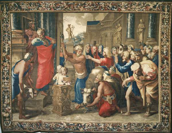 Tapestry depicting the Acts of the Apostles, the Sacrifice of Lystra, woven at the Beauvais Workshop under the direction of Philippe Behagle (1641-1705), 1695-98 (wool tapestry)