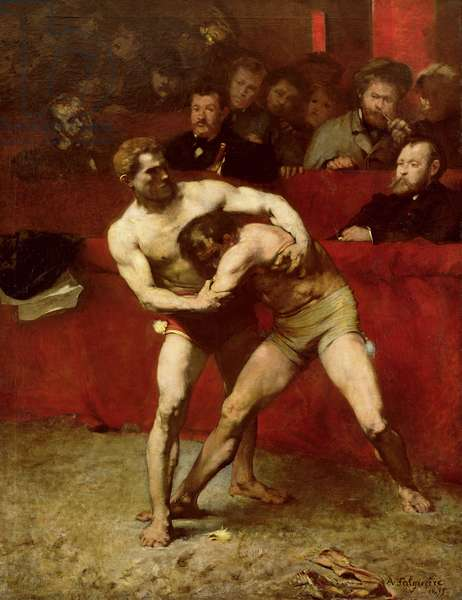 Wrestlers, 1875 (oil on canvas)