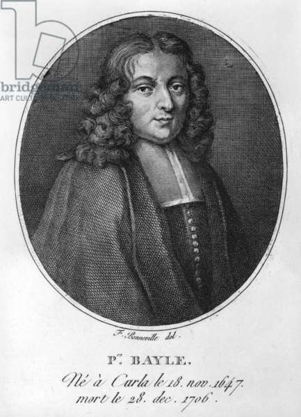 Portrait of Pierre Bayle (1647-1706) (engraving) (b/w photo)