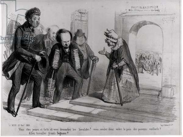 Dumas, Hugo et Balzac seeking their admission to the French Academy, illustration from 'La Mode', 23rd November 1839 (engraving) (b/w photo)