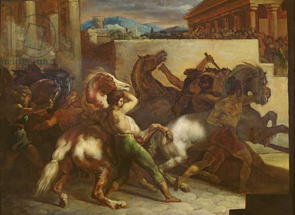 The Wild Horse Race at Rome, c.1817 (oil on paper)