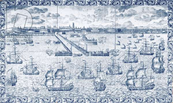 Bombardment of Dunkirk on 11th August 1695 (ceramic)