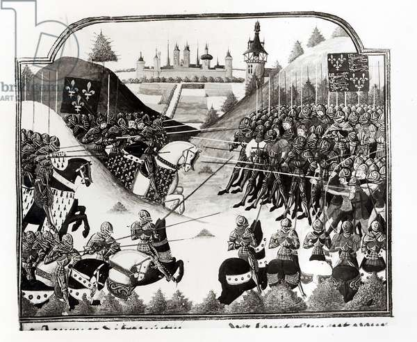 The Battle of Fromigny, 14 April 1450, ms Fr 2691 fol. 183, from 'Chronique de Charles VII' by Jean Chartier (vellum) (b/w photo)