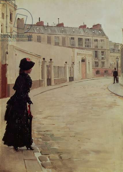 Waiting, Rue de Chateaubriand, Paris (oil on canvas)
