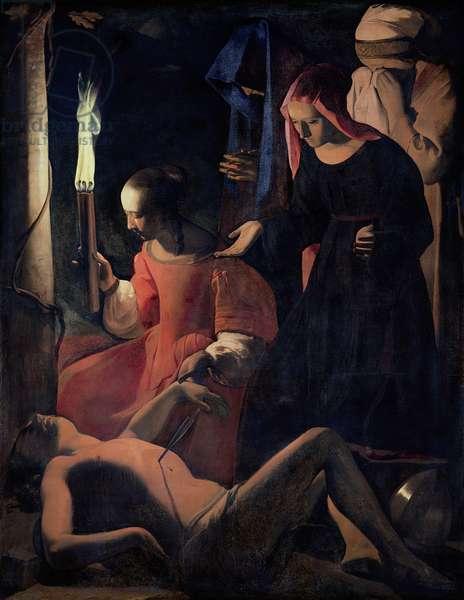 St. Sebastian Tended by St. Irene (oil on canvas)