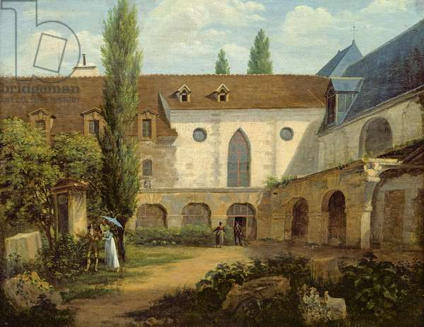 The convent courtyard of Petits-Augustins a Paris, c.1818 (oil on canvas)