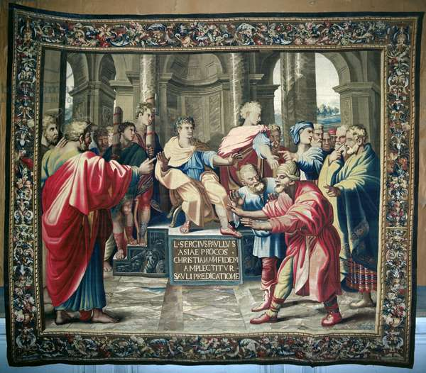Tapestry depicting the Acts of the Apostles. The Blinding of Elymas, woven at the Beauvais Workshop under the direction of Philippe Behagle (1641-1705), 1695-98 (wool tapestry)