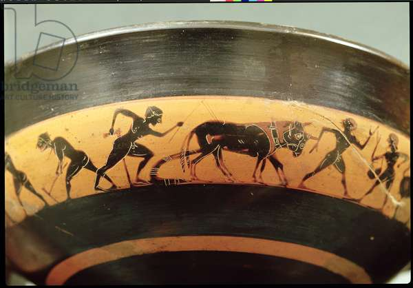 Attic black-figure cup depicting workers in a field, from Athens, c.530 BC (ceramic) (detail)