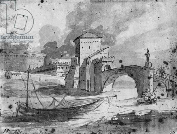 View of the Tiber near the bridge and the castle Sant'Angelo in Rome, c.1775-80 (grey wash & pierre noire on paper)