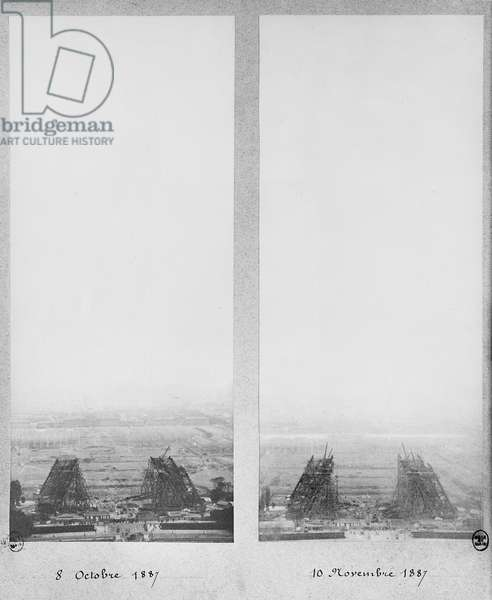 Two views of the construction of the Eiffel Tower, Paris, 8th October and 10th November 1887 (b/w photo)