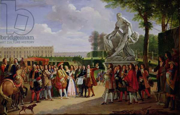 Louis XIV (1638-1715) Dedicating Puget's 'Milo of Crotona' in the Gardens at Versailles, 1819 (oil on canvas)