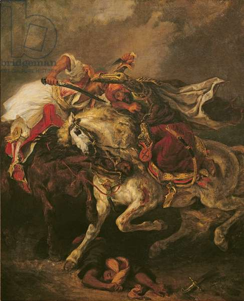 The Battle of Giaour and Hassan, after Byron's poem, 'Le Giaour', 1835 (oil on canvas)