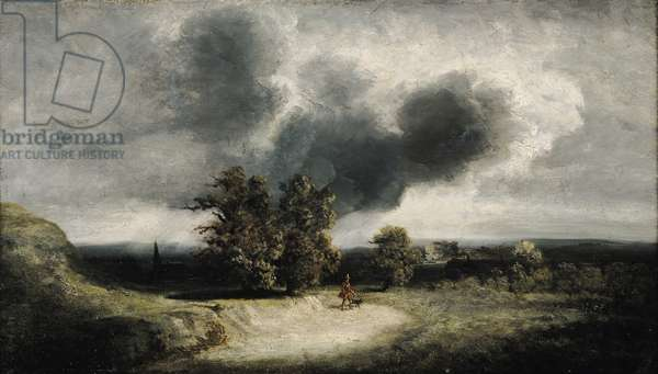 Landscape on the Outskirts of Paris (oil on canvas)