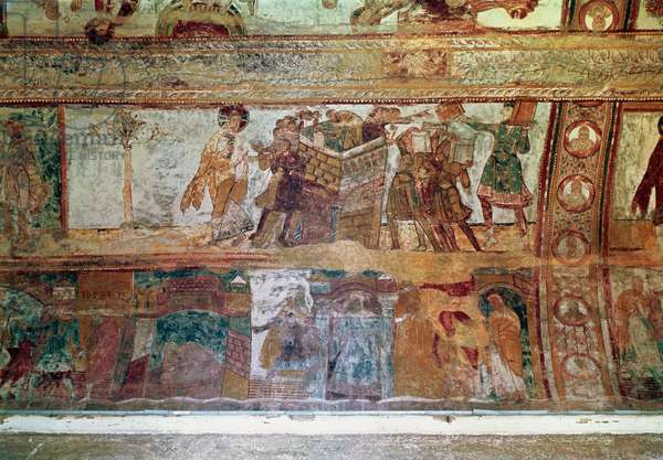 The Construction of the Tower of Babel (upper register); The Meeting of Joseph and Potiphar's Wife, and Joseph Being Thrown into Prison (lower register), from the nave vault, c.1100 (fresco)