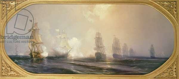 Naval Battle in Chesapeake Bay, 3rd September 1781, 1848 (oil on canvas)