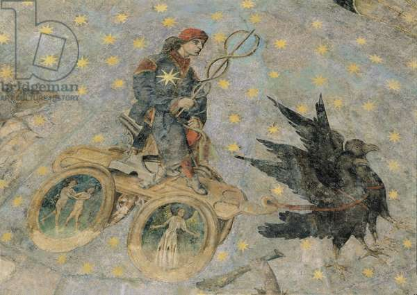 The Chariot of Mercury, detail from the vaulting of the 'Cielo de Salamanca', c.1480-90 (fresco)