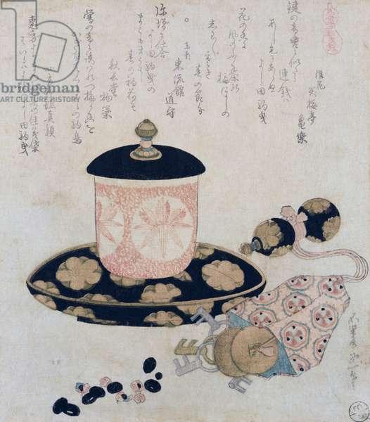 A Pot of Tea and Keys, 1822 (colour woodblock print)