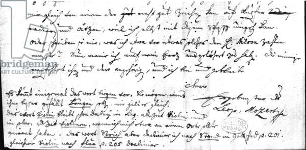 Letter from Leopold Mozart (1719-87), 7th July 1755 (pen & ink on paper) (b/w photo)