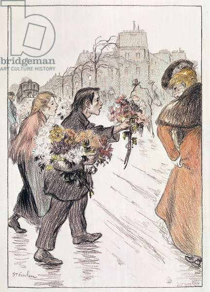 Florists walking around the outer Boulevards (pencil and crayon on paper)