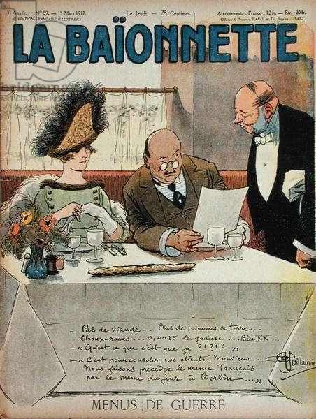 Menus de Guerre, from 'La Baionnette', 15th March 1917 (coloured engraving)