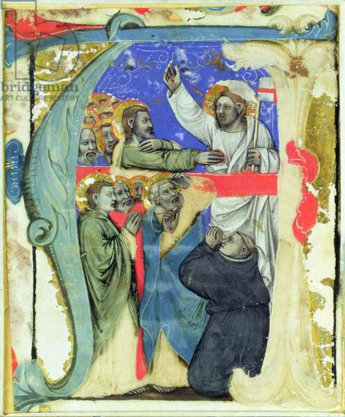 Historiated initial 'A' depicting The Incredulity of St. Thomas, c.1370 (vellum)
