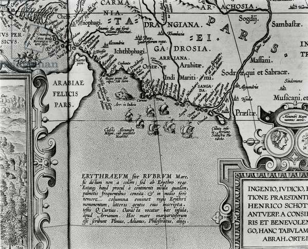 Map of Alexander the Great's empire, from 'Abrahami Ortelli theatri orbis terrarum parergon', published in Antwerp in 1674 (engraving) (b/w photo) (detail)