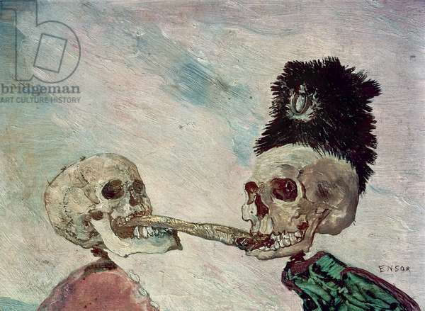 Skeletons Fighting over a Herring (oil on panel)
