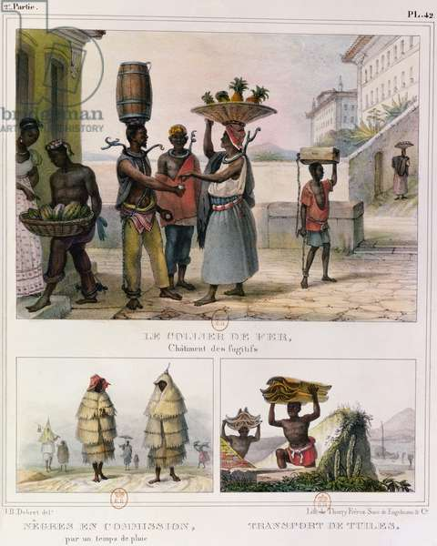 The Iron Collar, Negroes Working in the Rain and Carrying Tiles, three illustrations from 'Voyage Pittoresque et Historique au Bresil', 1835 (colour litho)
