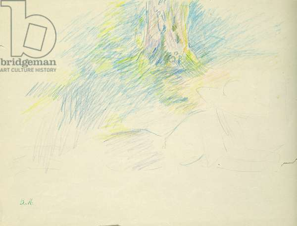 Young girl lying down under a tree, 1891 (coloured pencil on paper)