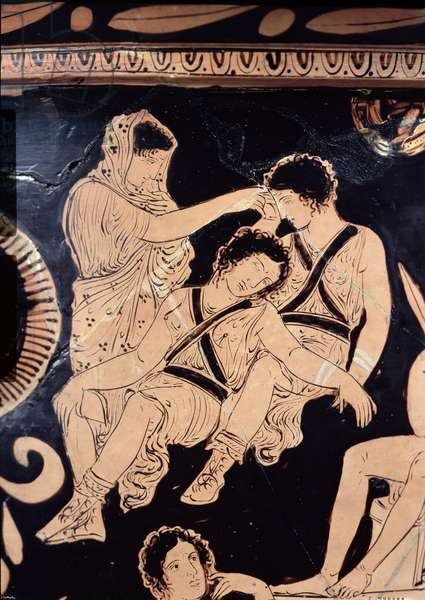 Attic red-figure krater depicting Orestes as suppliant at the shrine of Apollo in Delphi, attributed to the Apulian Eumenides Painter, c.380 BC (pottery) (detail)