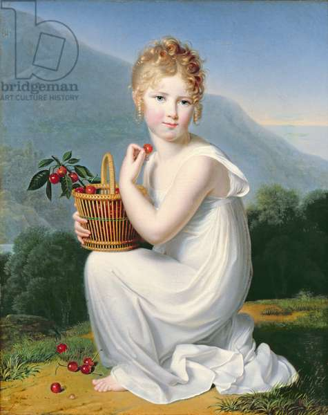 Young Girl Eating Cherries (oil on canvas)