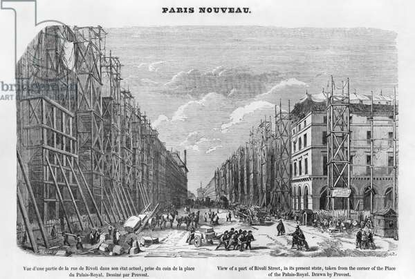 New Paris, view of a part of Rivoli street, in its present state, taken from the corner of the Place of the Palais-Royal, 1877 (engraving) (b/w photo)