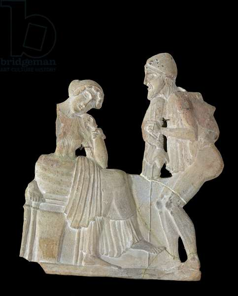Relief depicting Odysseus and Penelope, from Milo, c.450 BC (stone)