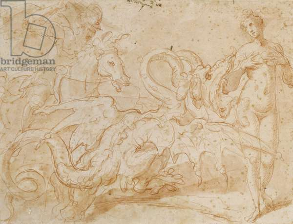 Perseus Rescuing Andromeda (red chalk on paper)
