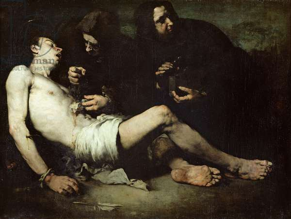 St Sebastian, martyred (oil on canvas)