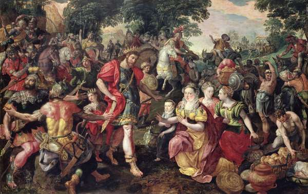 David and Abigail or Alexander and the Family of Darius (oil on panel)