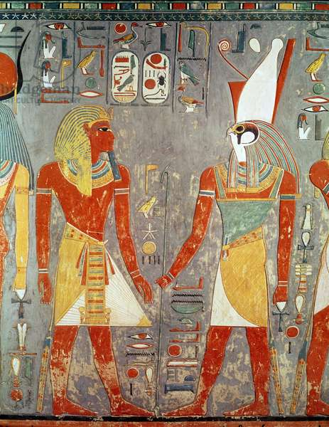 Relief depicting Horemheb (c.1323-1295 BC) before Horus, from his tomb, New Kingdom (painted limestone)