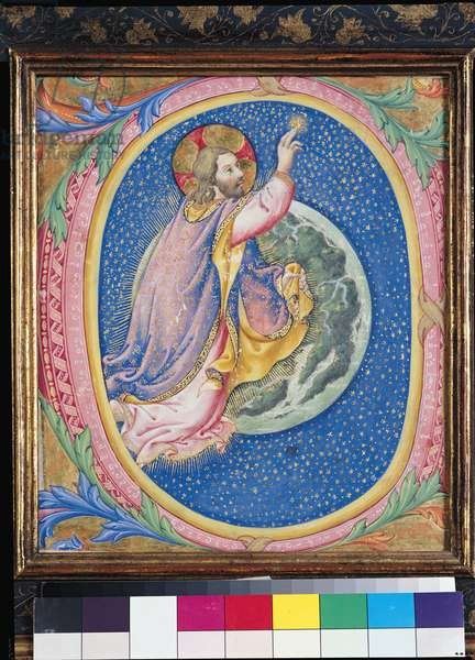 Historiated initial 'O' depicting God creating the stars (vellum)