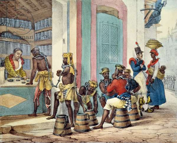 Manacled slaves buying tobacco from a Tobacco shop in Rio de Janeiro, 1835 (colour litho)