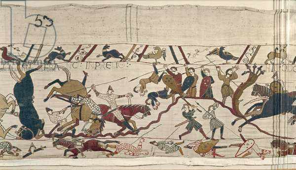 Normans and English Fall Side by Side in Battle, Bayeux Tapestry (wool embroidery on linen)