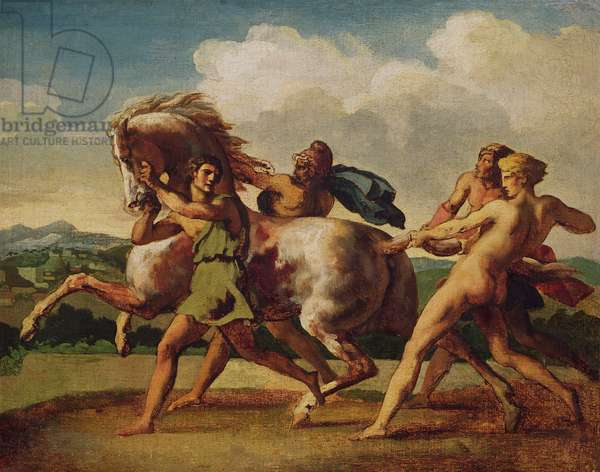 Slaves stopping a horse, study for 'The Race of the Barbarian Horses', 1817 (oil on canvas)