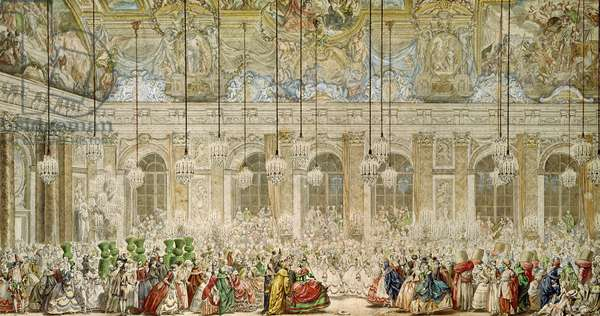 The Masked Ball at the Galerie des Glaces, 17th February 1745 (pen & ink and w/c on paper)