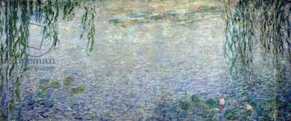 Waterlilies: Morning with Weeping Willows, detail of the central section, 1915-26 (oil on canvas) (see also 162347 & 162349)