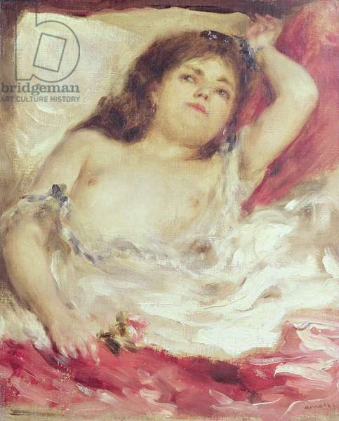 Semi-Nude Woman in Bed: The Rose, before 1872 (oil on canvas)