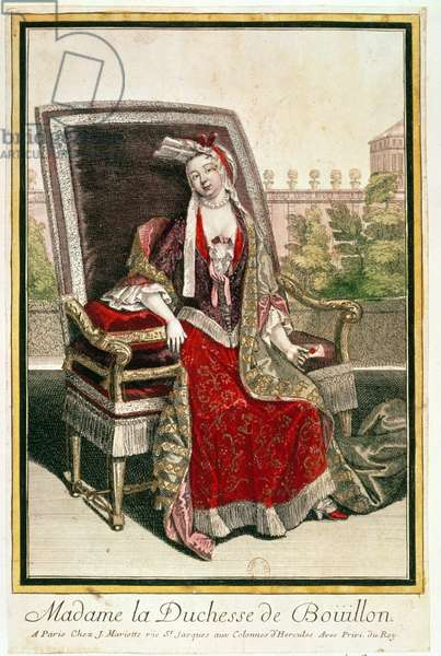 Marie-Anne Mancini (1646-1714) Duchess of Bouillon (coloured engraving)