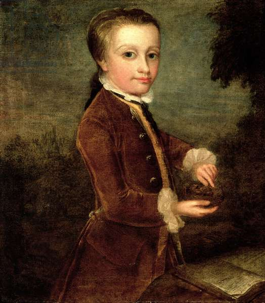 Portrait of Wolfgang Amadeus Mozart (1756-91) aged eight, holding a bird's nest, 1764-65 (oil on canvas)