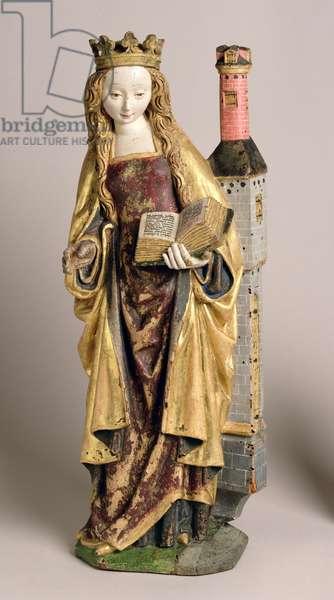 St. Barbara, School of Mechelen, c.1500 (polychrome & gilded oak wood)