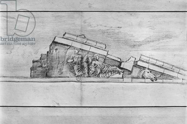 Study of the frieze from the west pediment of the Parthenon (pencil on paper) (b/w photo)